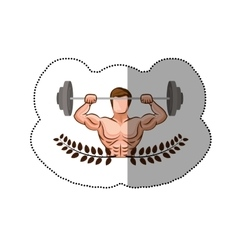 sticker ornament leaves with muscle man lifting a vector image
