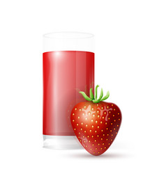strawberry and glass juice vector image