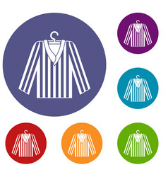 Striped pajama shirt icons set vector