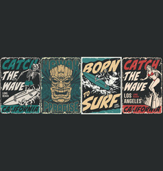surfing vintage posters collection vector image