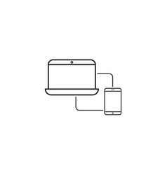 sync devices line icon outline vector image