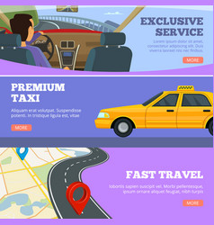 taxi service banners yellow service cars driver vector image