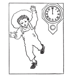 Telling time 1200 noon story problem vintage vector