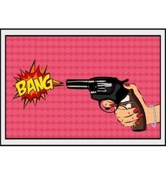 The pop art Gun on a polka-dot background vector