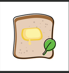 toast with melted butter and green leaf - top view vector image