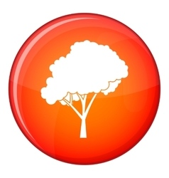 Tree with a rounded crown icon flat style vector