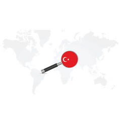 turkey flag in magnifying glass vector image