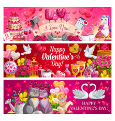 Valentines day red hearts flowers gifts cupid vector