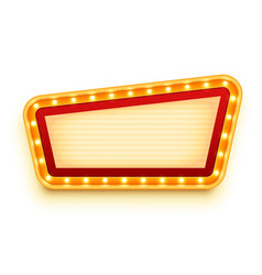 vintage signboard with glowing bulbs wall sign vector image