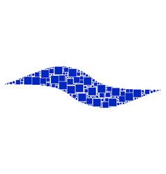 wave shape mosaic of squares and circles vector image