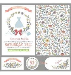 Wedding templatesDoodle Floral decorpattern vector image