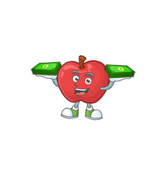 With money bag red apple funny character vector