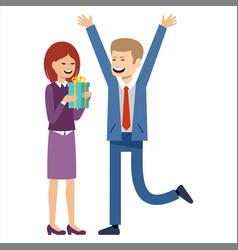 woman gives a man a gift vector image