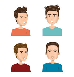 young people group avatars characters vector image