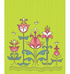 cartoon background with flowers and birds vector image vector image