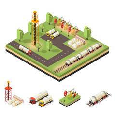 colorful isometric oil extraction composition vector image