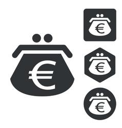 Euro purse icon set monochrome vector image