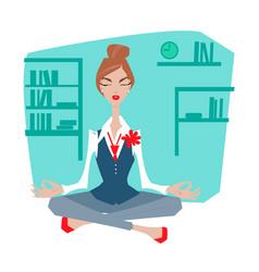 female office worker meditating vector image