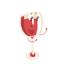 funny glass of wine cartoon character element for vector image