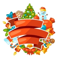 Merry Christmas holiday greeting card with vector image