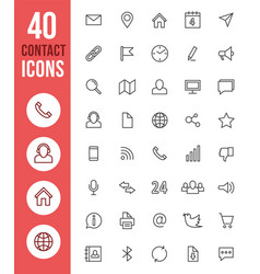 social media thin line icons and contact vector image
