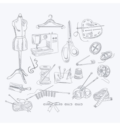 Tailor Shop Hand Drawn Equipment Set vector image