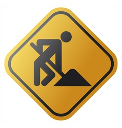 under construction road sign with man vector image vector image