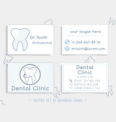 business card template design for dental clinic vector image
