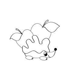 coloting with hedgehog vector image vector image