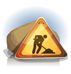 men at work road sign vector image vector image