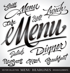 menu headlines set vector image