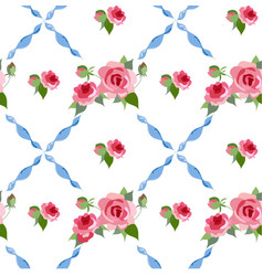 seamless rose peony pattern vector image vector image