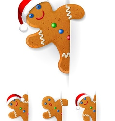 Set of Christmas gingerbread mans vector image