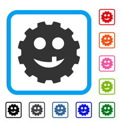 Tooth smiley gear framed icon vector