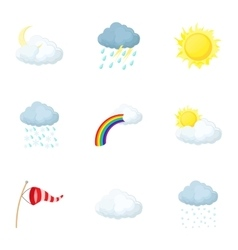 Weather outside icons set cartoon style vector image vector image