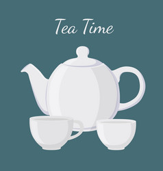 white teapot and cup vector image