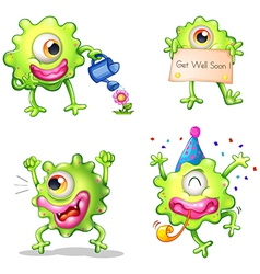 Activities of the green one-eyed monster vector image