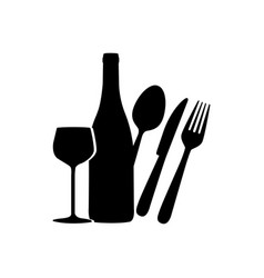 black wine bottle glass and cutlery icon vector image vector image