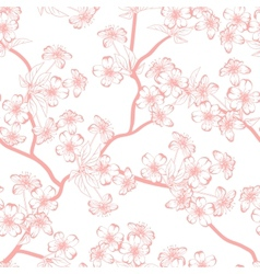 Cherry blossom background Seamless flowers pattern vector image