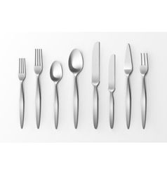 Cutlery set of silver forks spoons and knifes vector