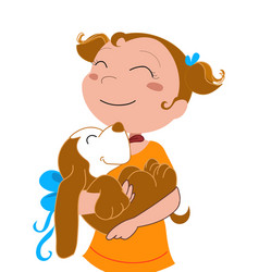 happy girl with a dog vector image vector image