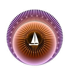 Logo yacht club in purple and orange colors vector image