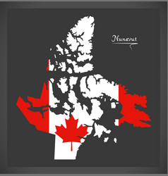 nunavut canada map with canadian national flag vector image