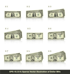 1 to 9 Dollars vector image