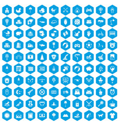 100 nursery icons set blue vector image