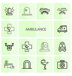 14 ambulance icons vector