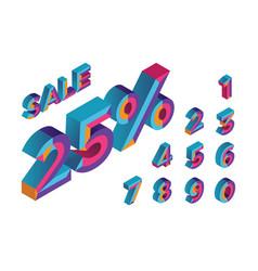 25 sale 0 1 2 3 4 5 6 7 8 9 isometric vector image