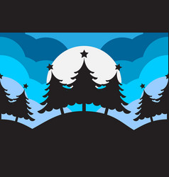 Abstract christmas tree with silhouett background vector