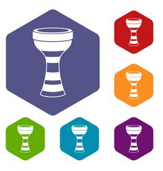 African drum icons set hexagon vector