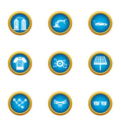 alternative energy icons set flat style vector image